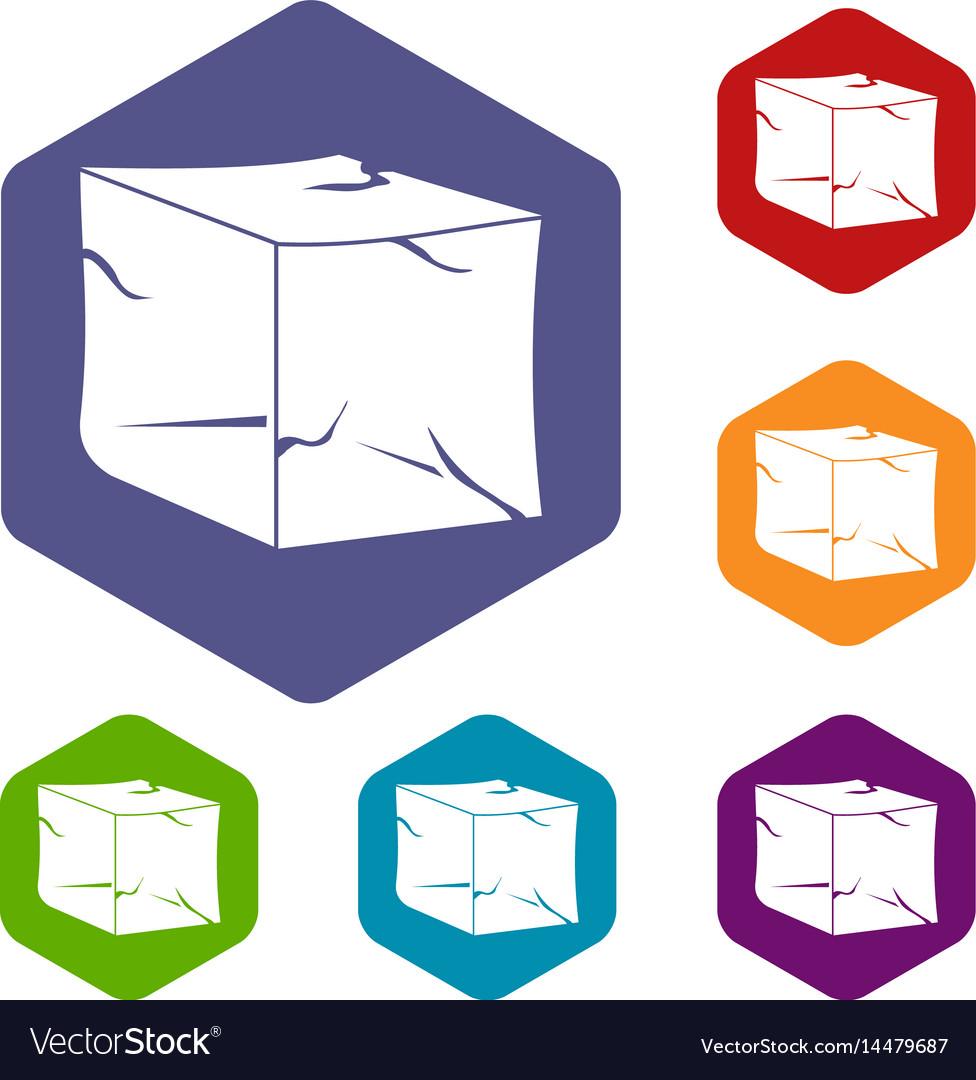Ice icons set hexagon