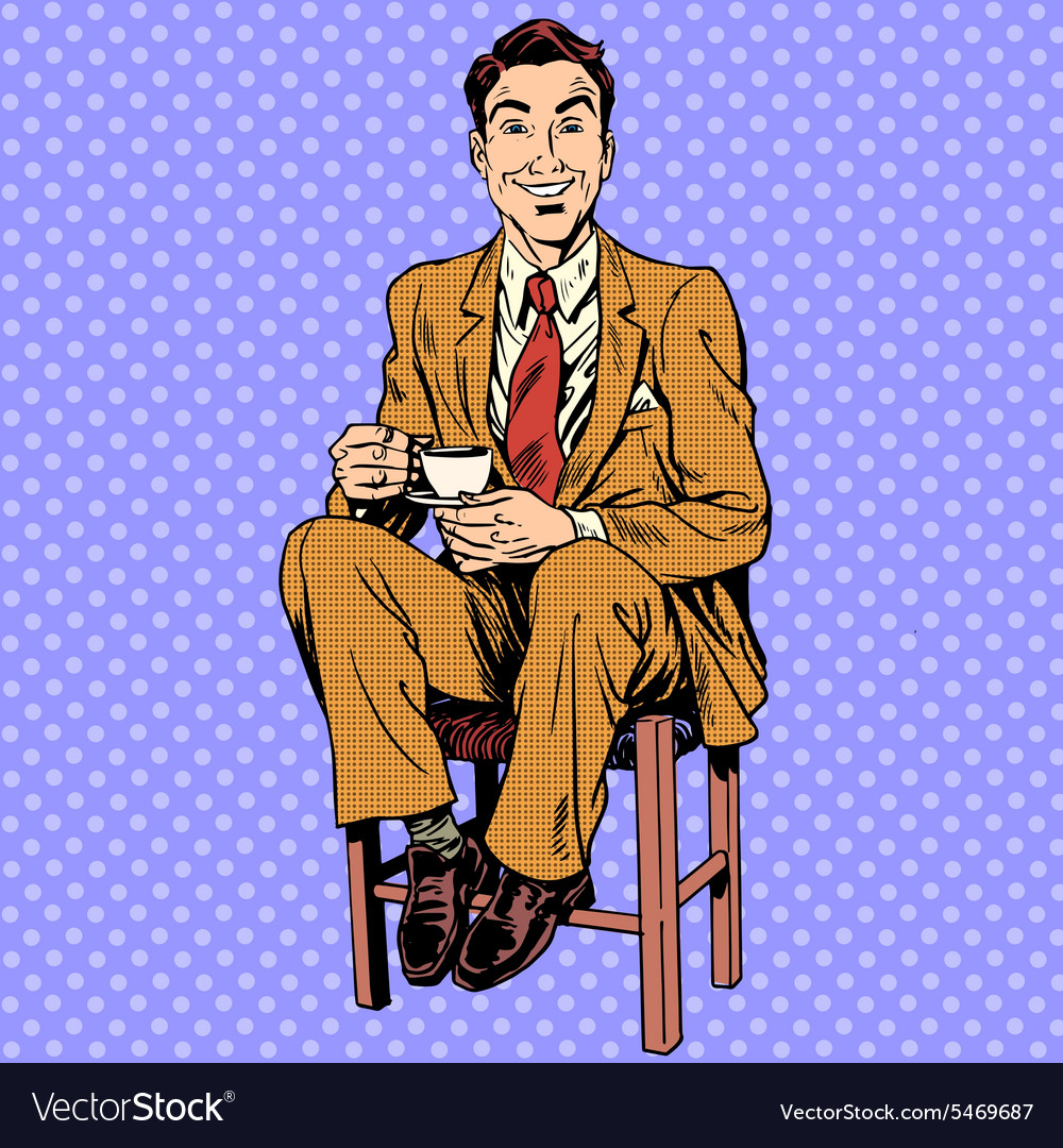 Man drinking tea sitting on the stool vector image