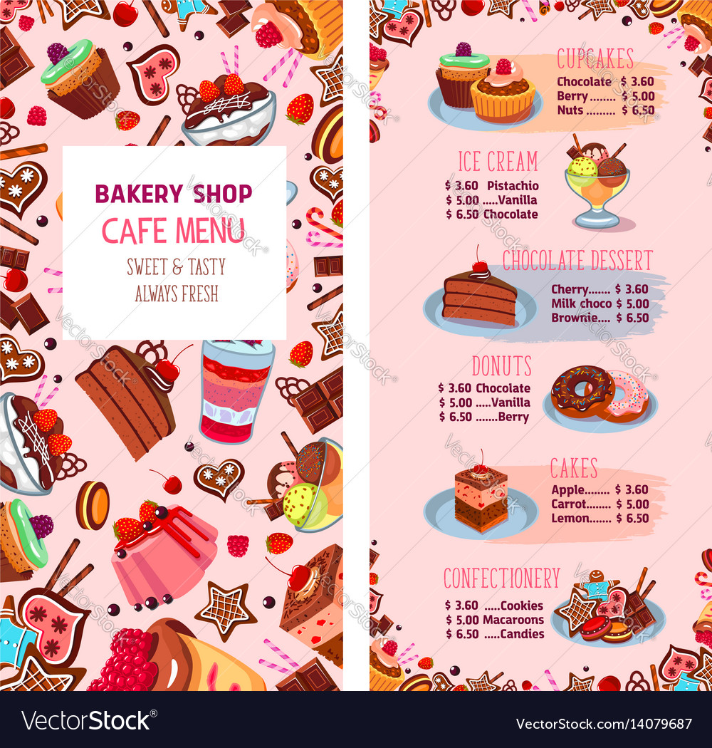 menu template for bakery shop desserts royalty free vector