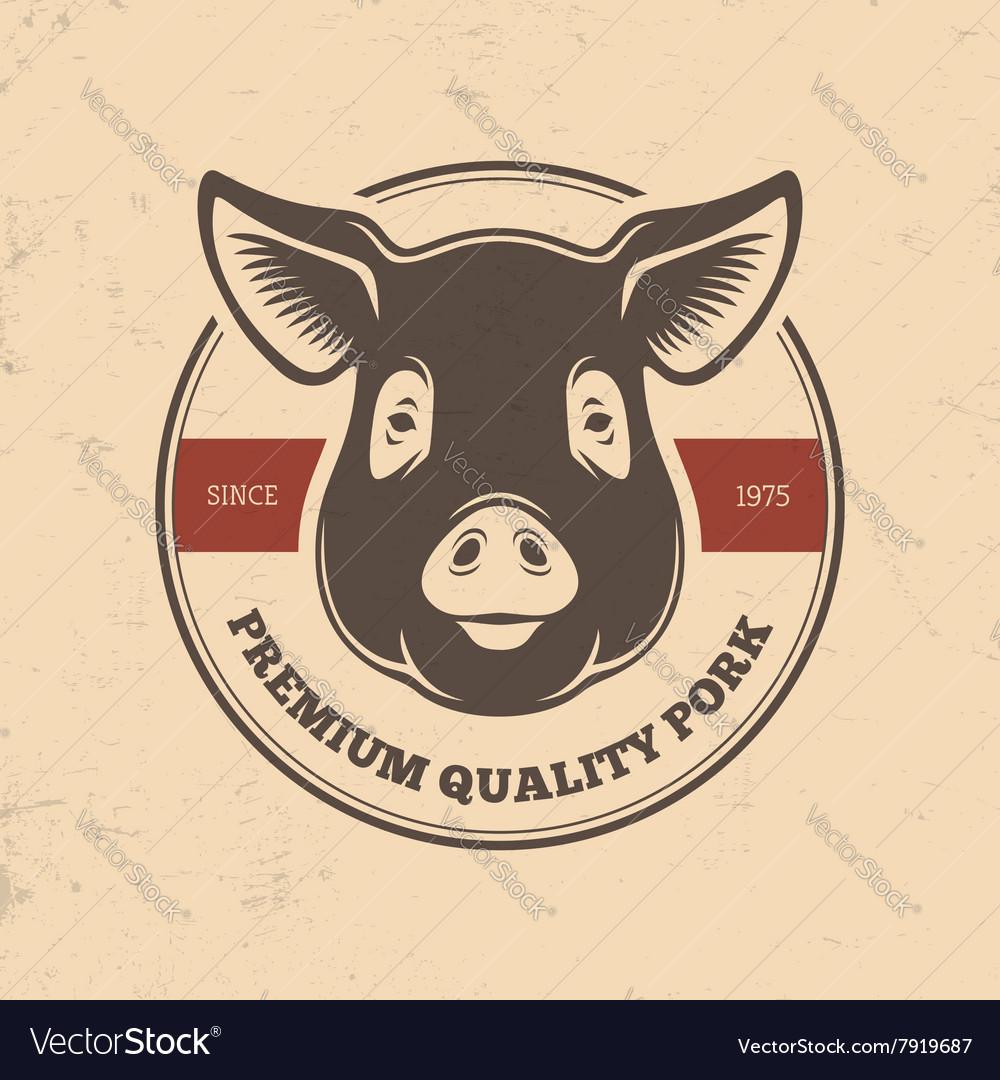 Pig head labels vector image