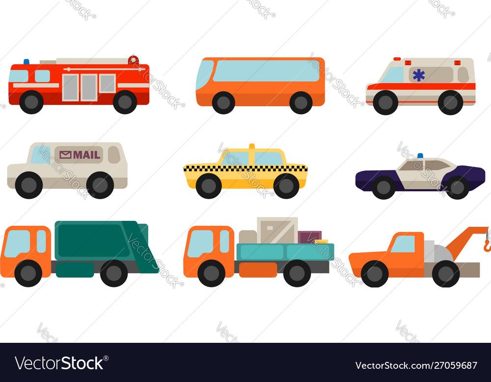 Set flat style service cars