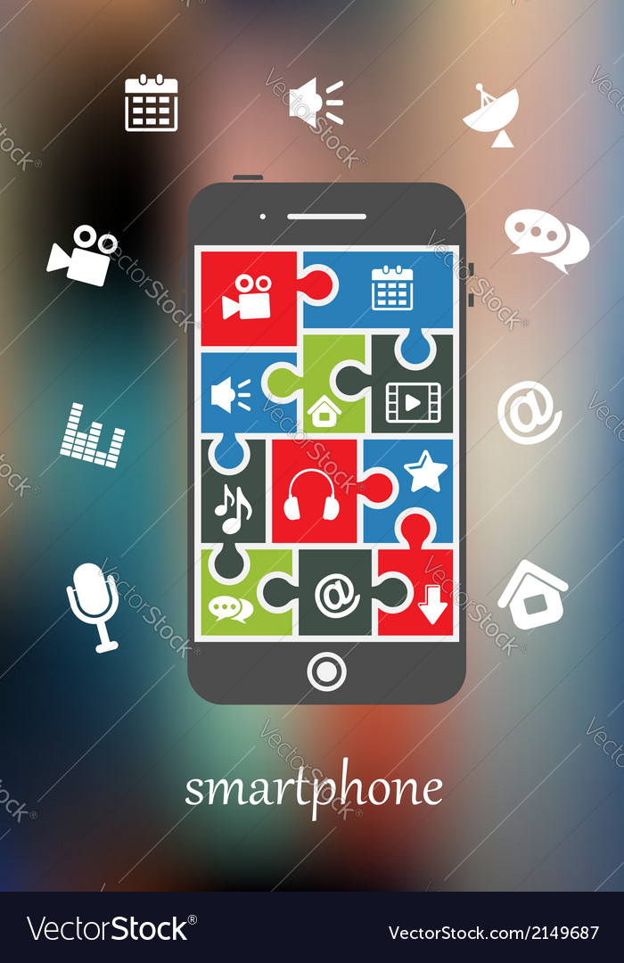 Smart phone display with multimedia icons