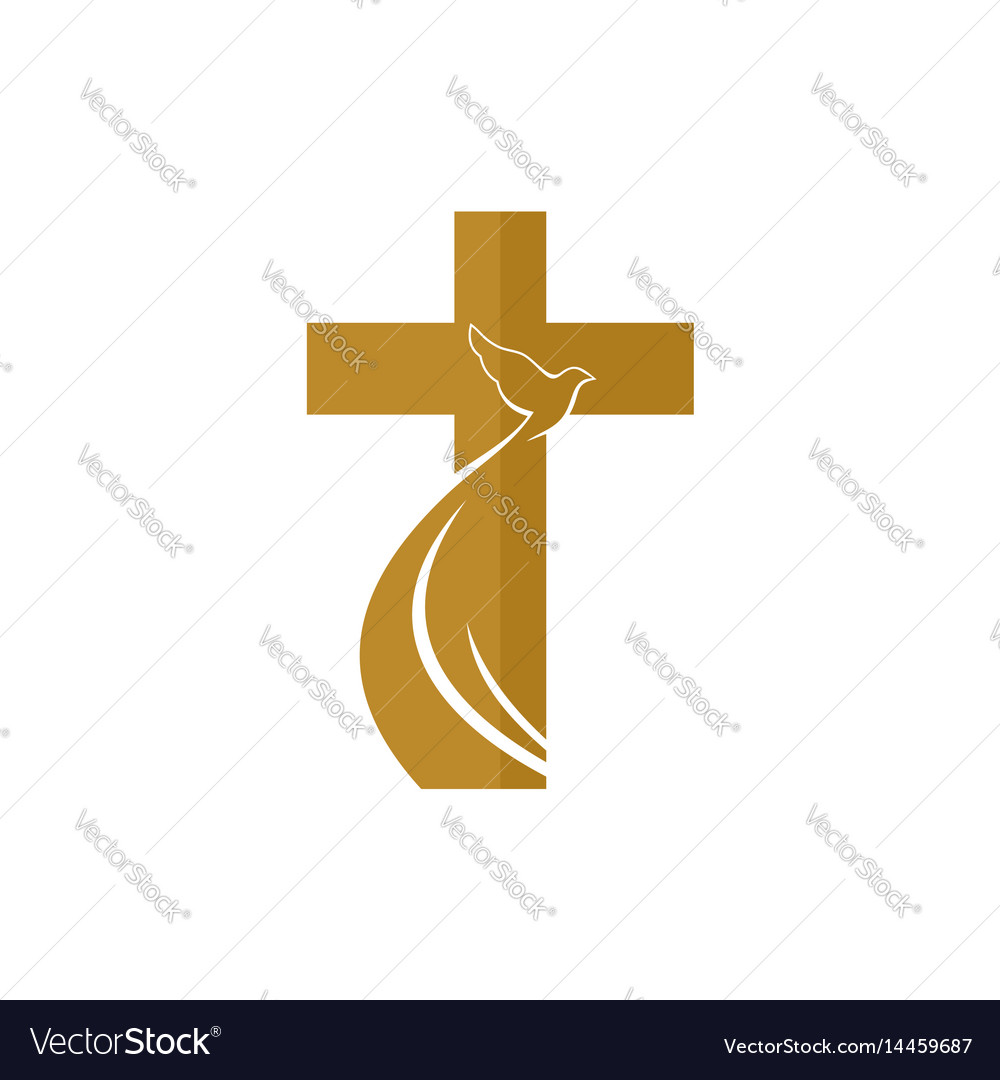 The cross of jesus and the flying dove vector image