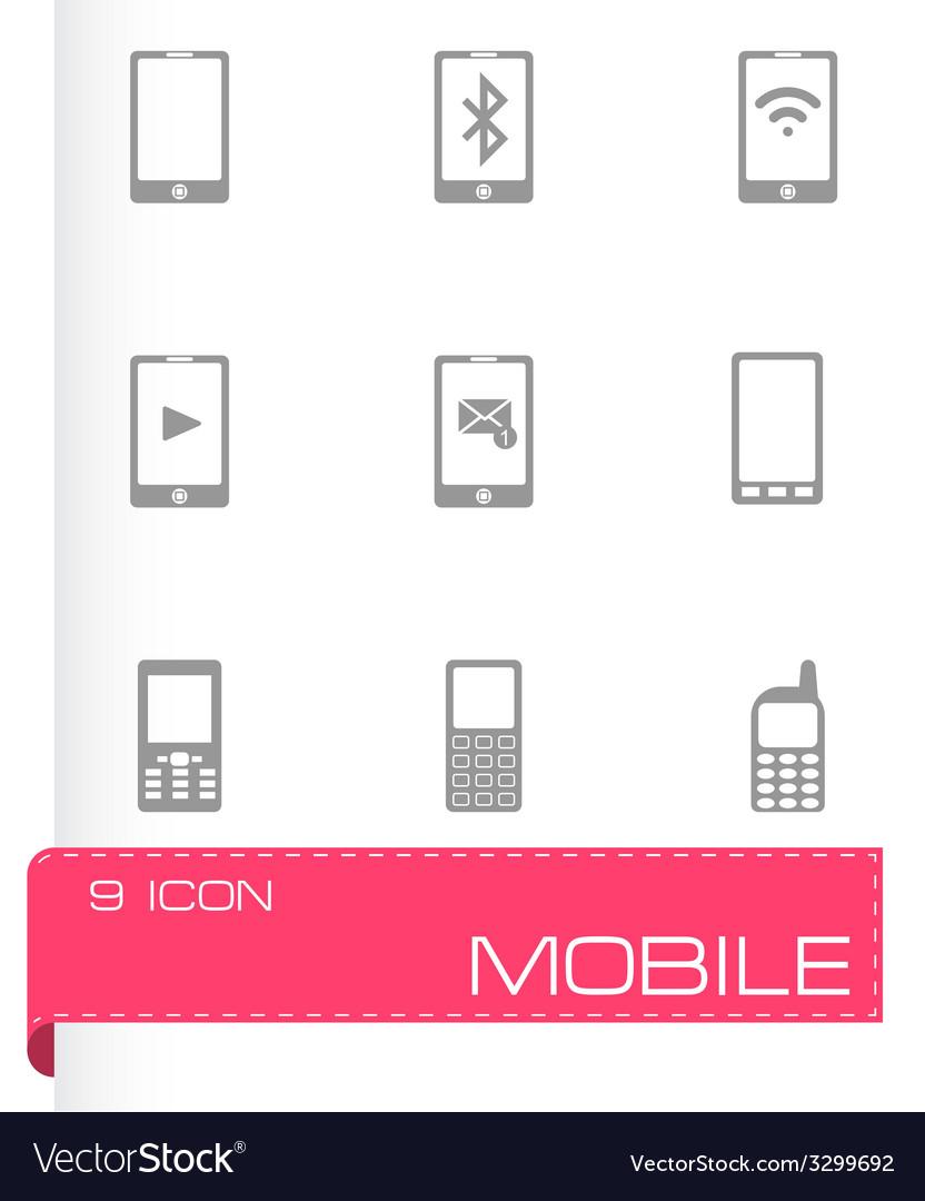 Black mobile icons set