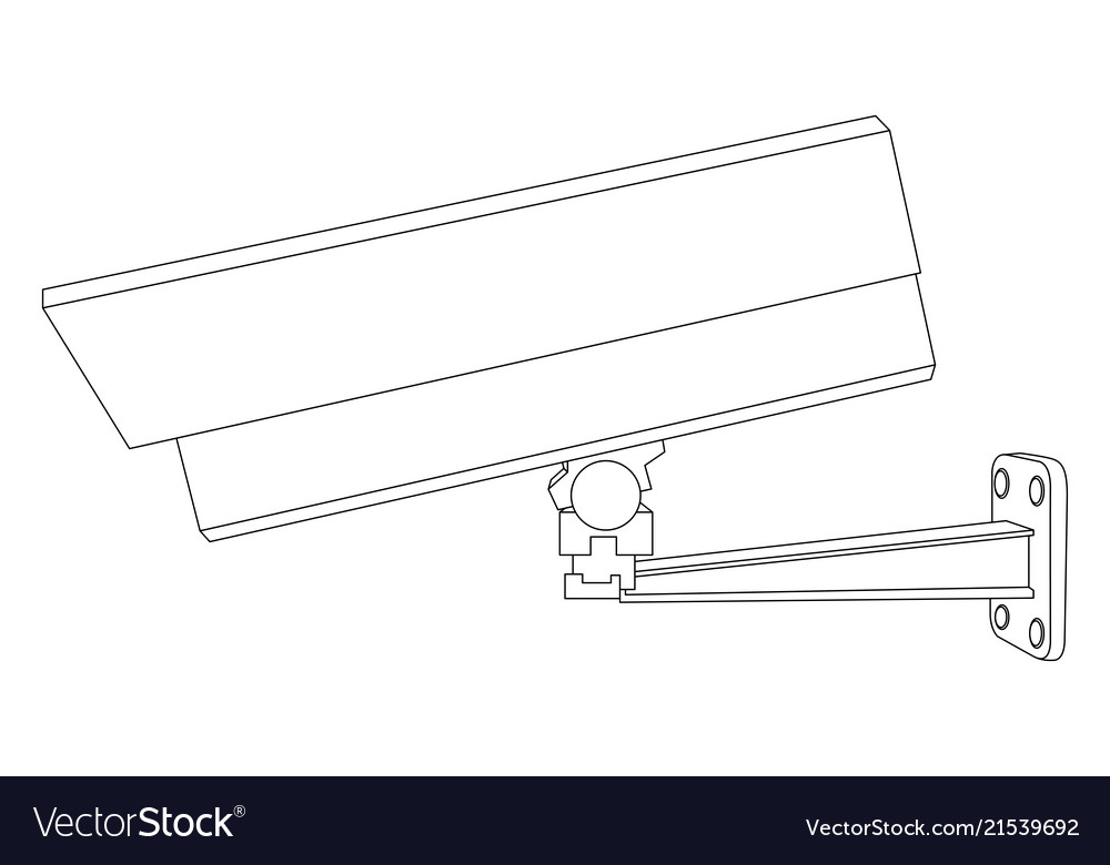 Cctv security camera side view outline drawing