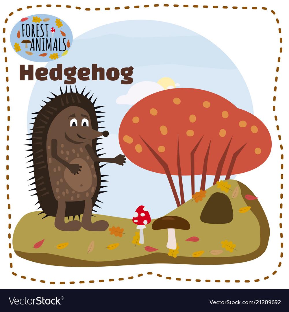 Cute cartoon hedgehog on background landscape