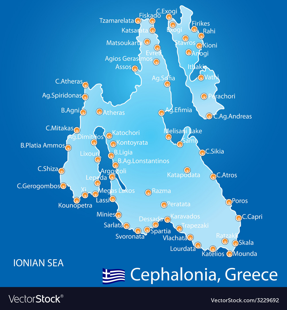 Poros Greece Map.Island Of Cephalonia In Greece Map Royalty Free Vector Image
