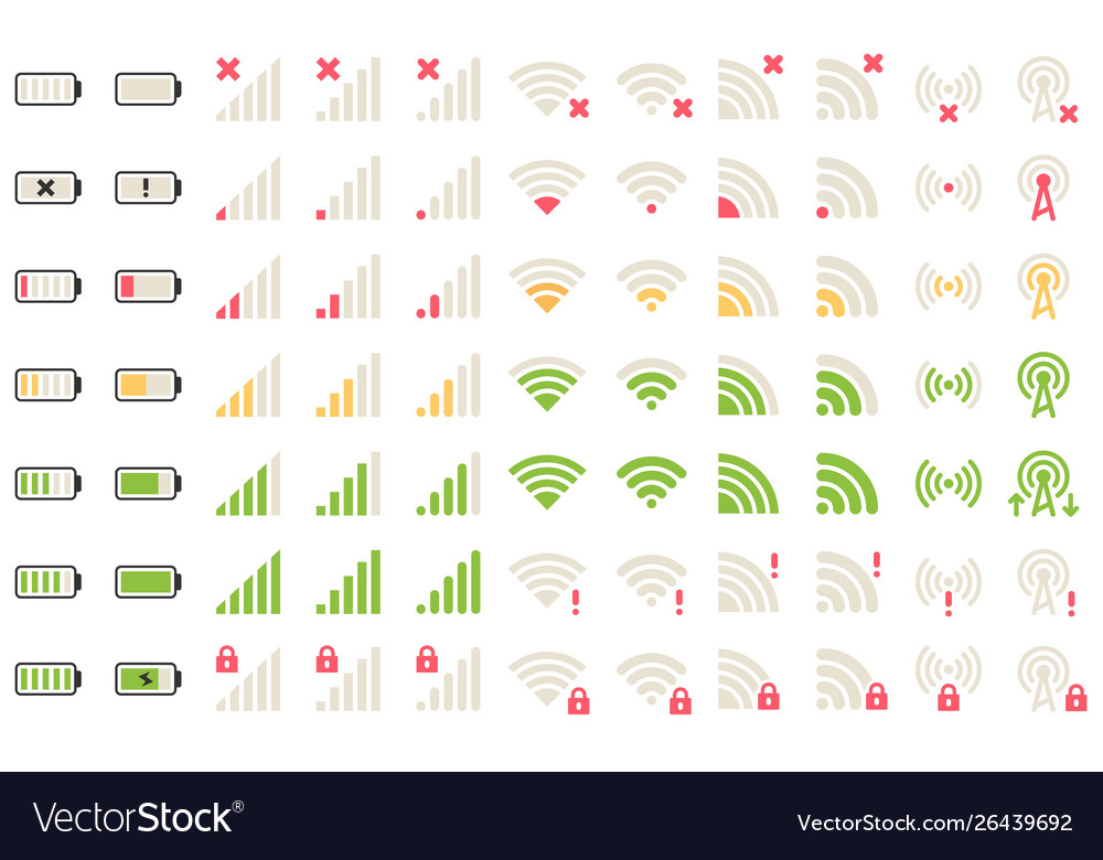 Mobile level icons network signal wifi