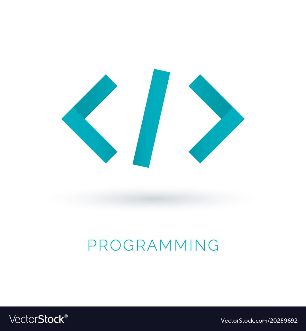 Programming code icon abstract code icon logo vector image