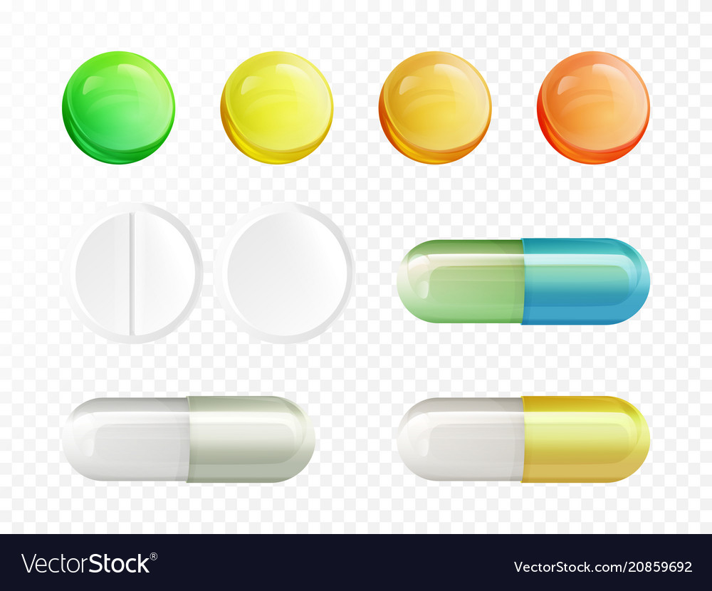 Realistic drugs pills and capsules set