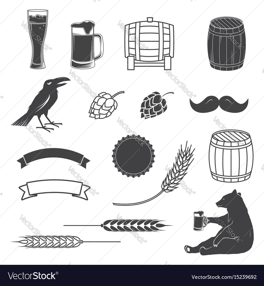 Set of craft beer elements isolated on the white