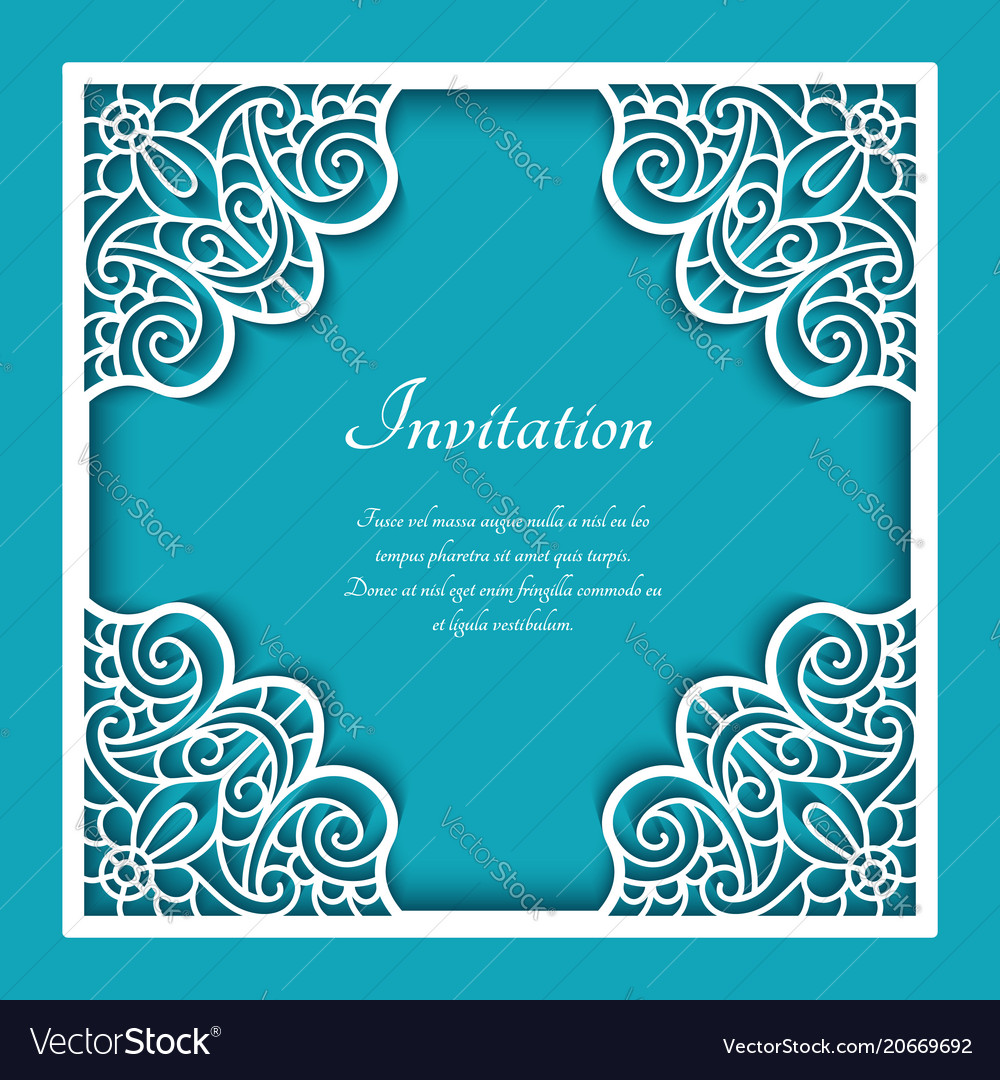 Square frame with cutout lace pattern vector image