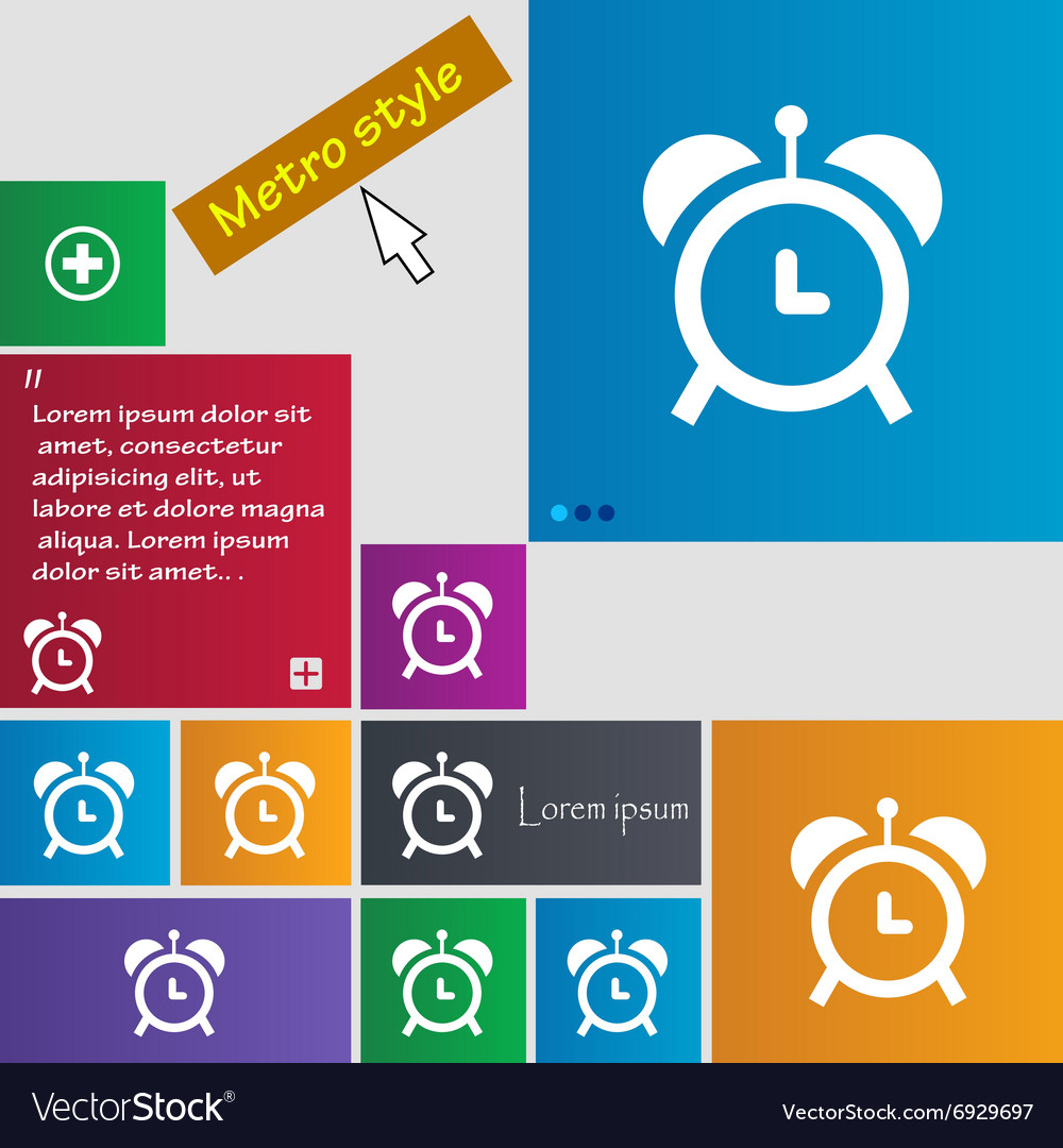 Alarm clock icon sign buttons Modern interface vector image