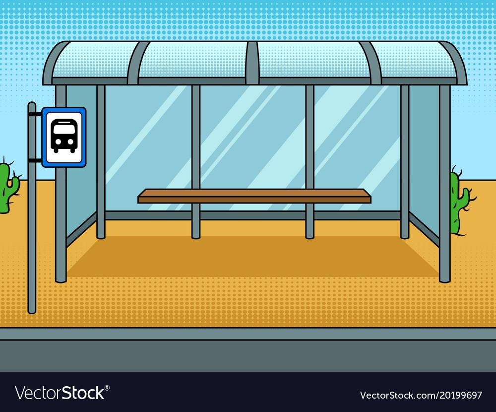 Bus stop cartoon pop art