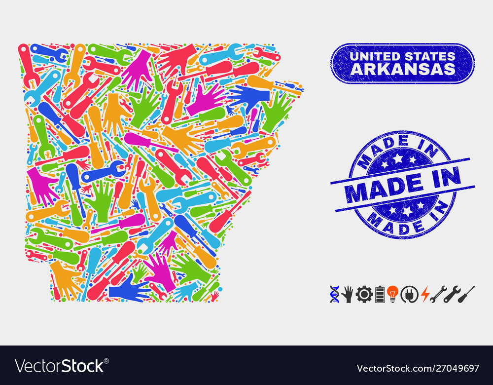 Construction arkansas state map and scratched made