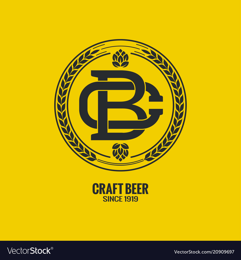 Craft beer logo on yellow background