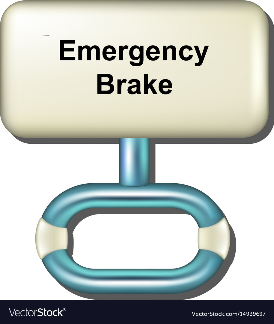 Emergency brake in white and light blue design