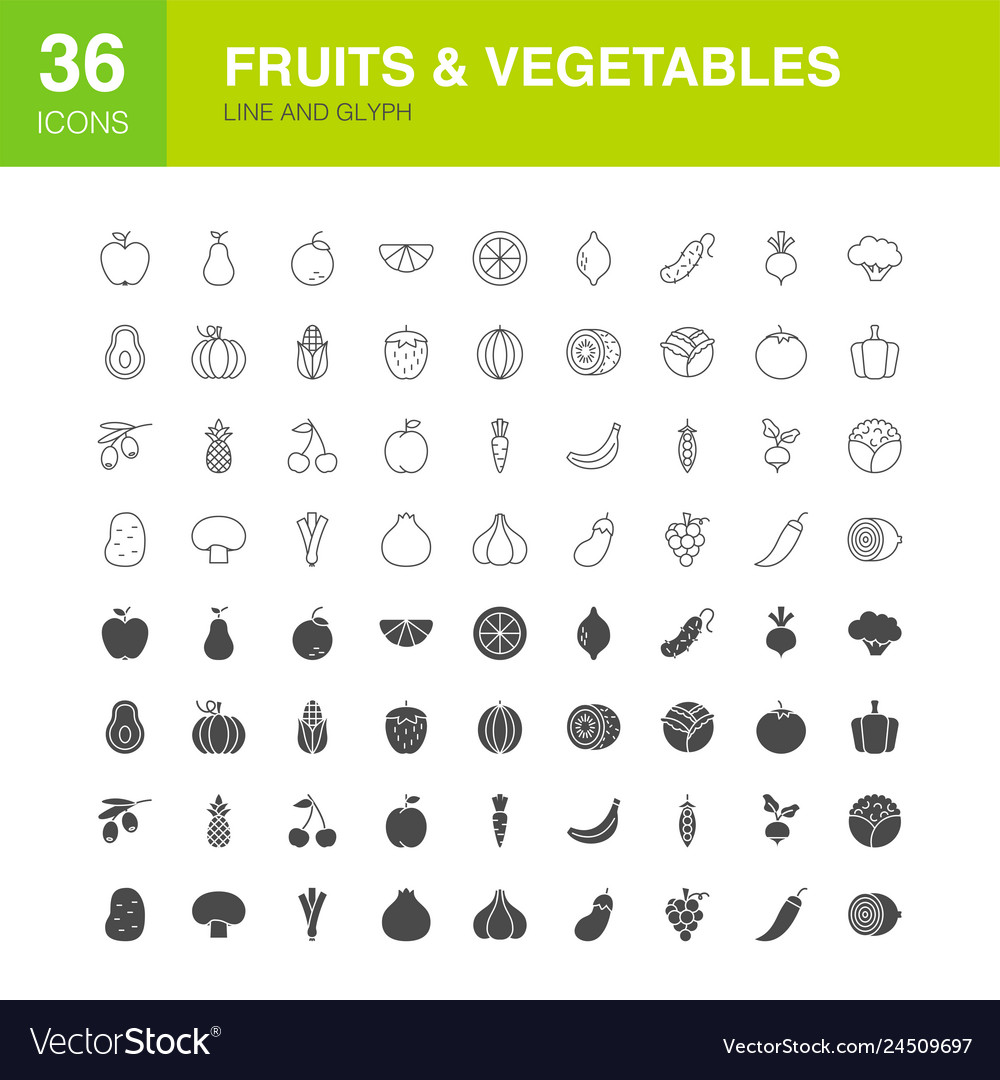 Fruits vegetables line web glyph icons