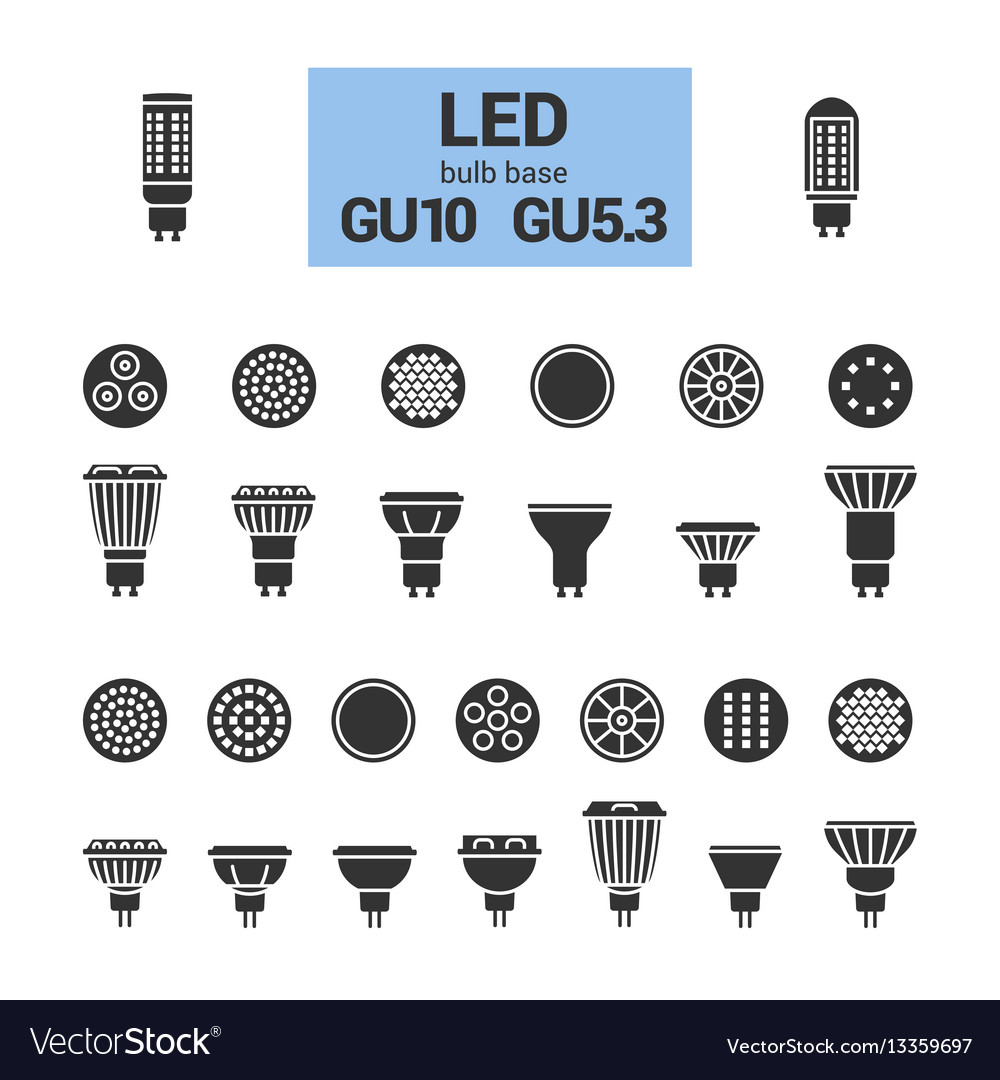 Led light gu10 bulbs silhouette icon set