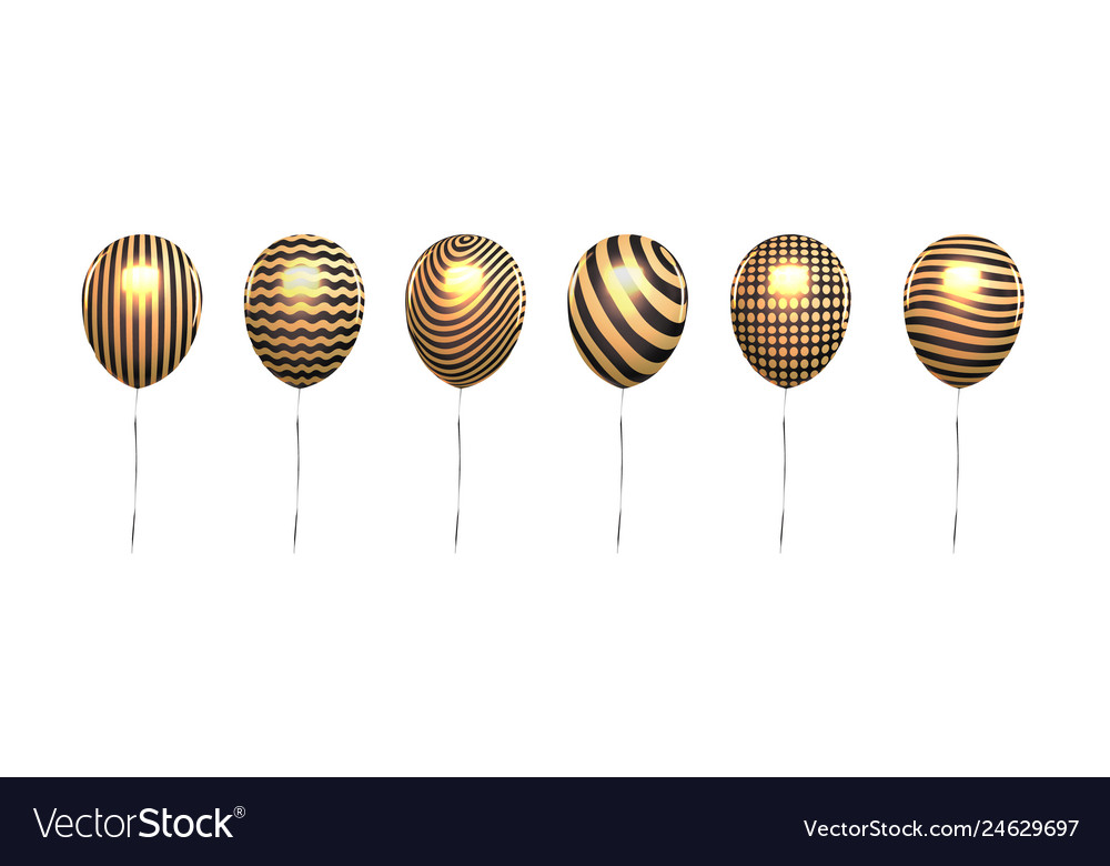 Metallic gold balloon isolate on white flying