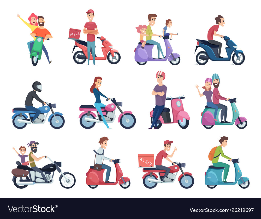 Motorcycle riders male and female drivers in