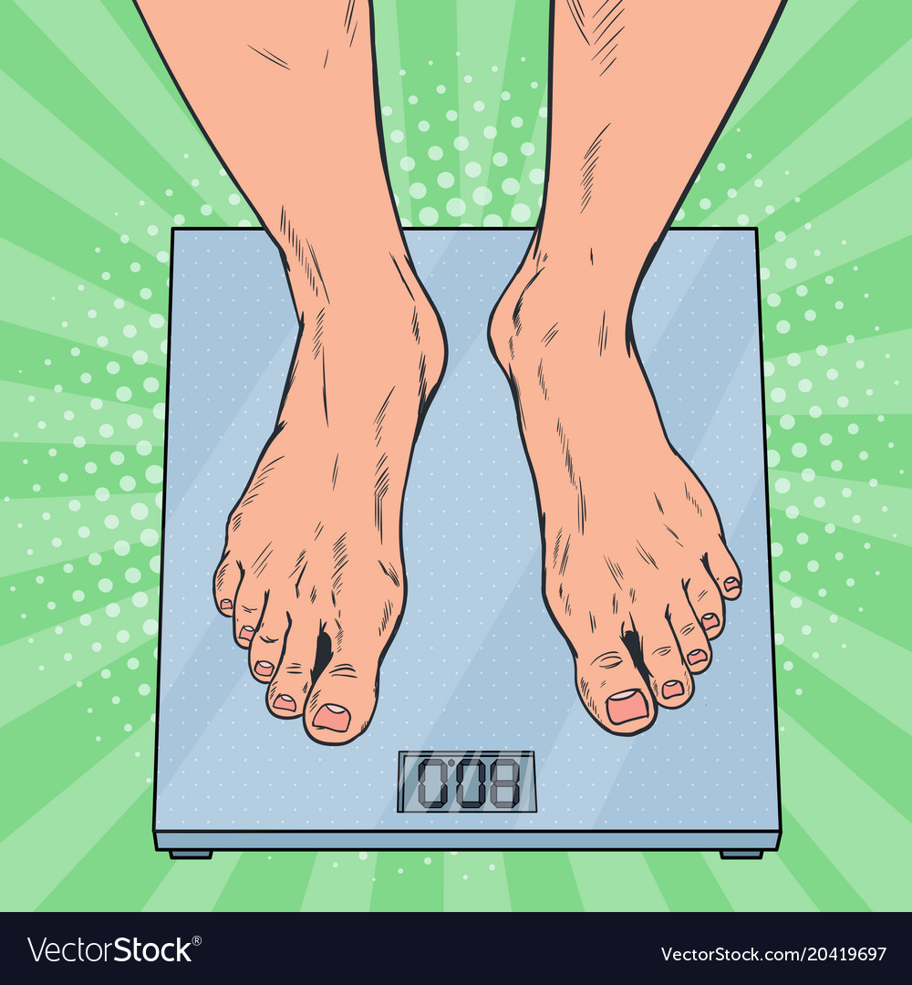 Pop Art Male Feet On Weighing Scales Vector Image
