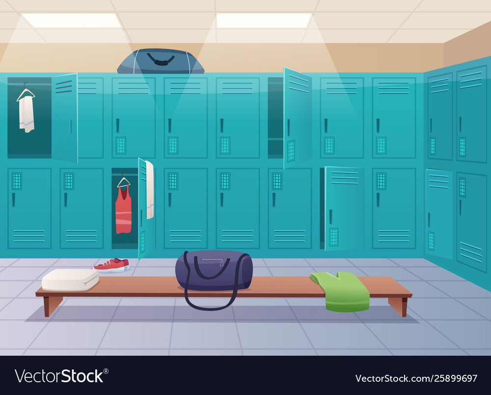 School Changing Room College Gym Sport Lockers Vector Image