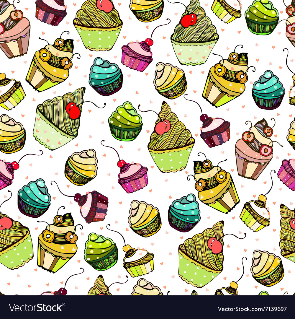 Seamless texture with cute Cake vector image