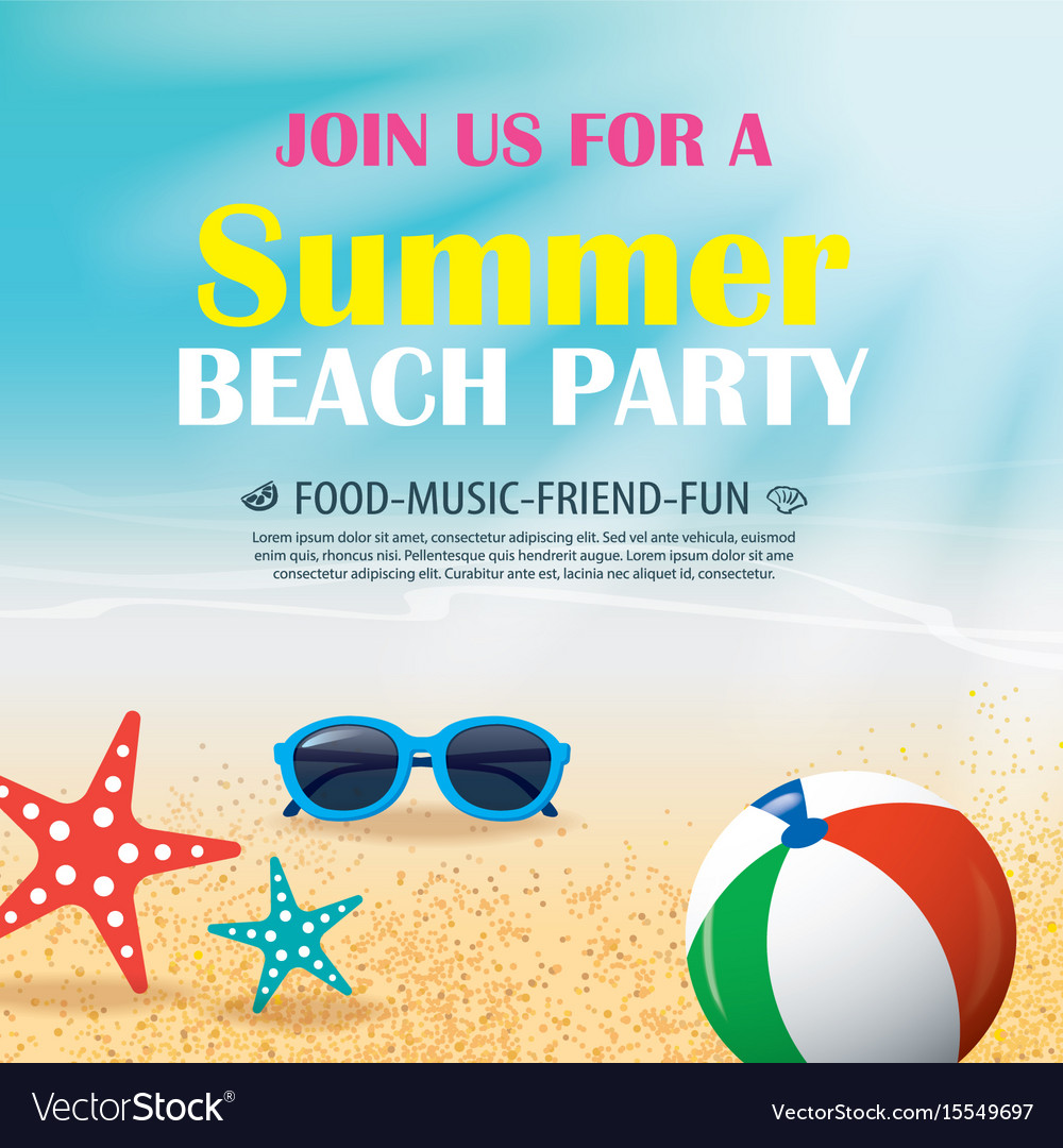 Summer beach party invitation poster with element