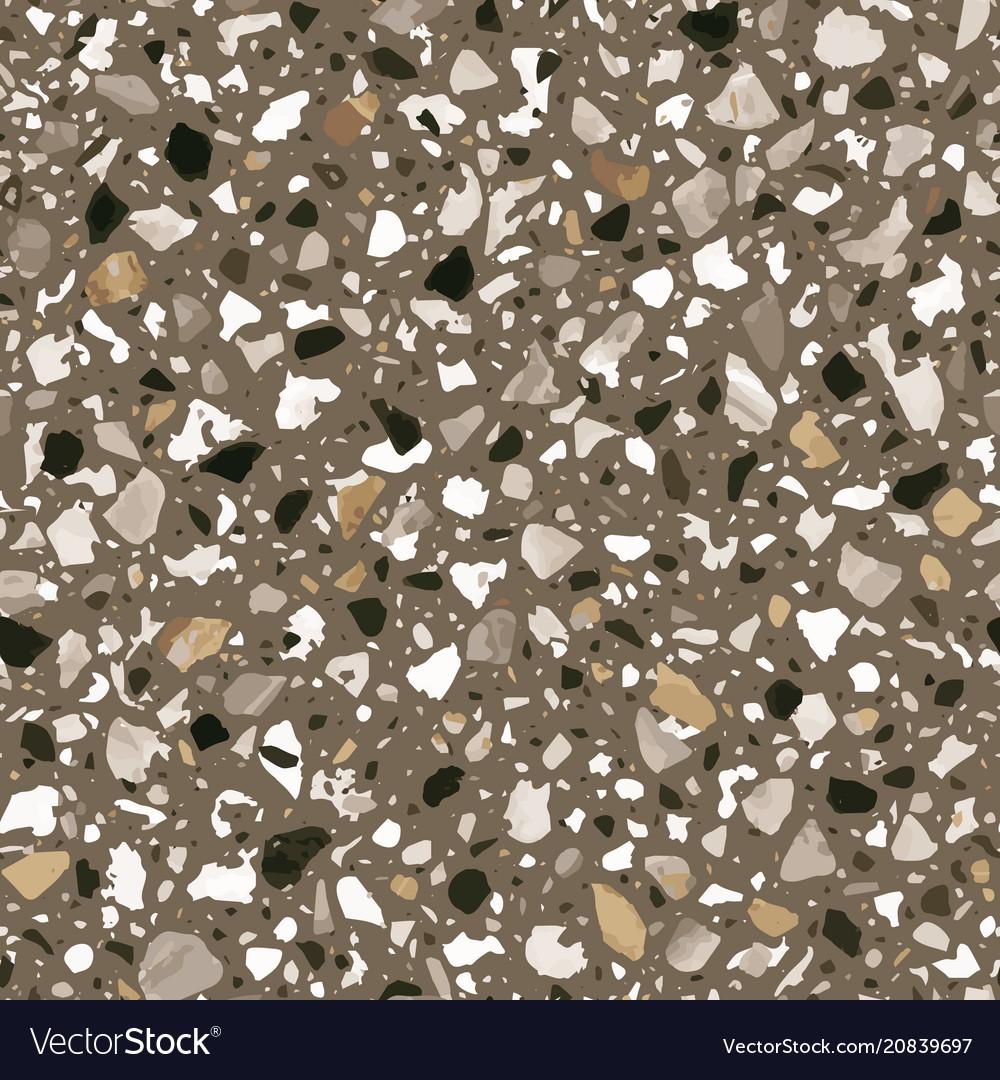 Terrazzo Flooring Seamless Pattern In Brown Vector Image