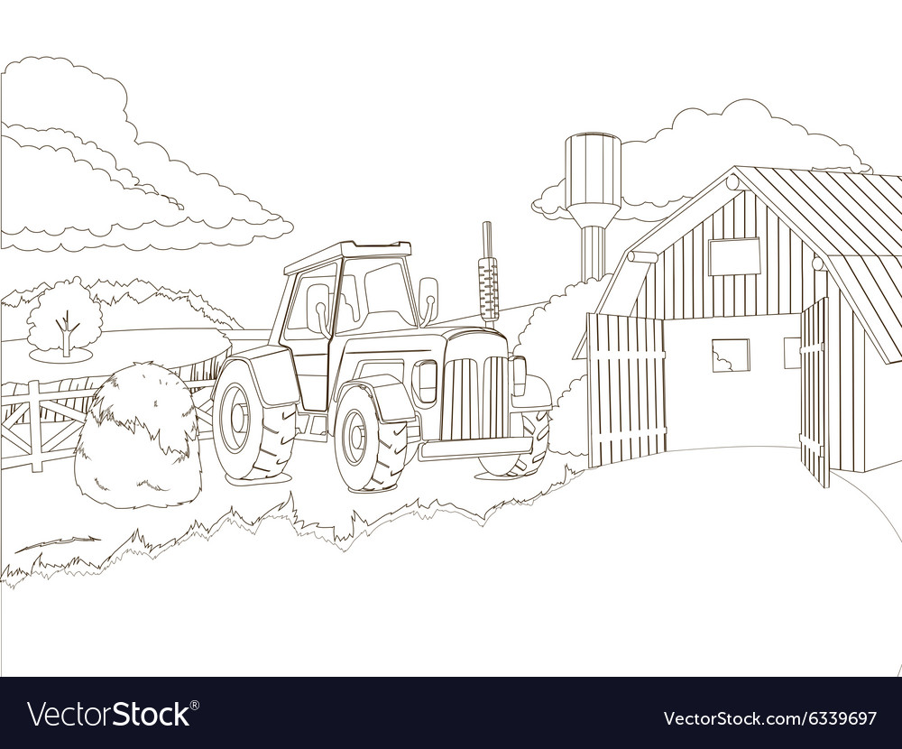 - Tractor On The Farm Coloring Book Royalty Free Vector Image