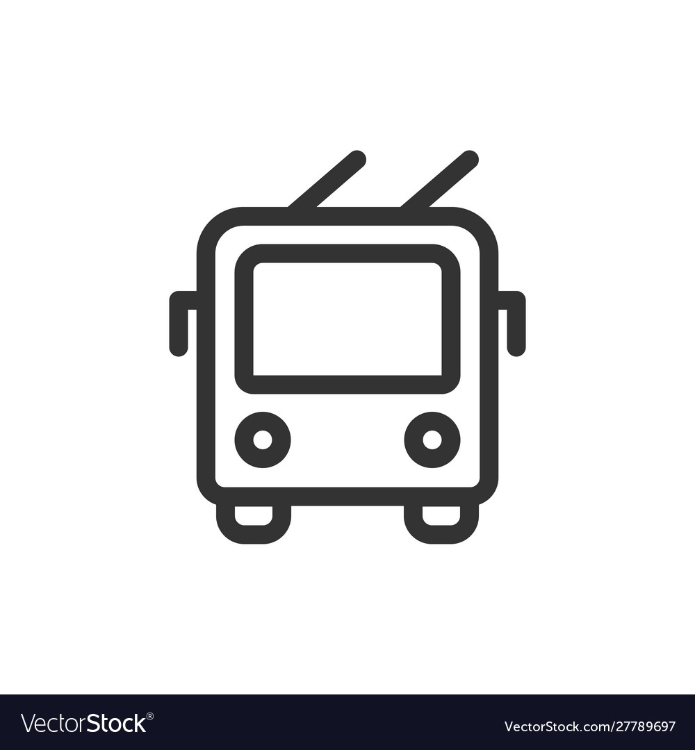 Trolley bus front view outline style icon