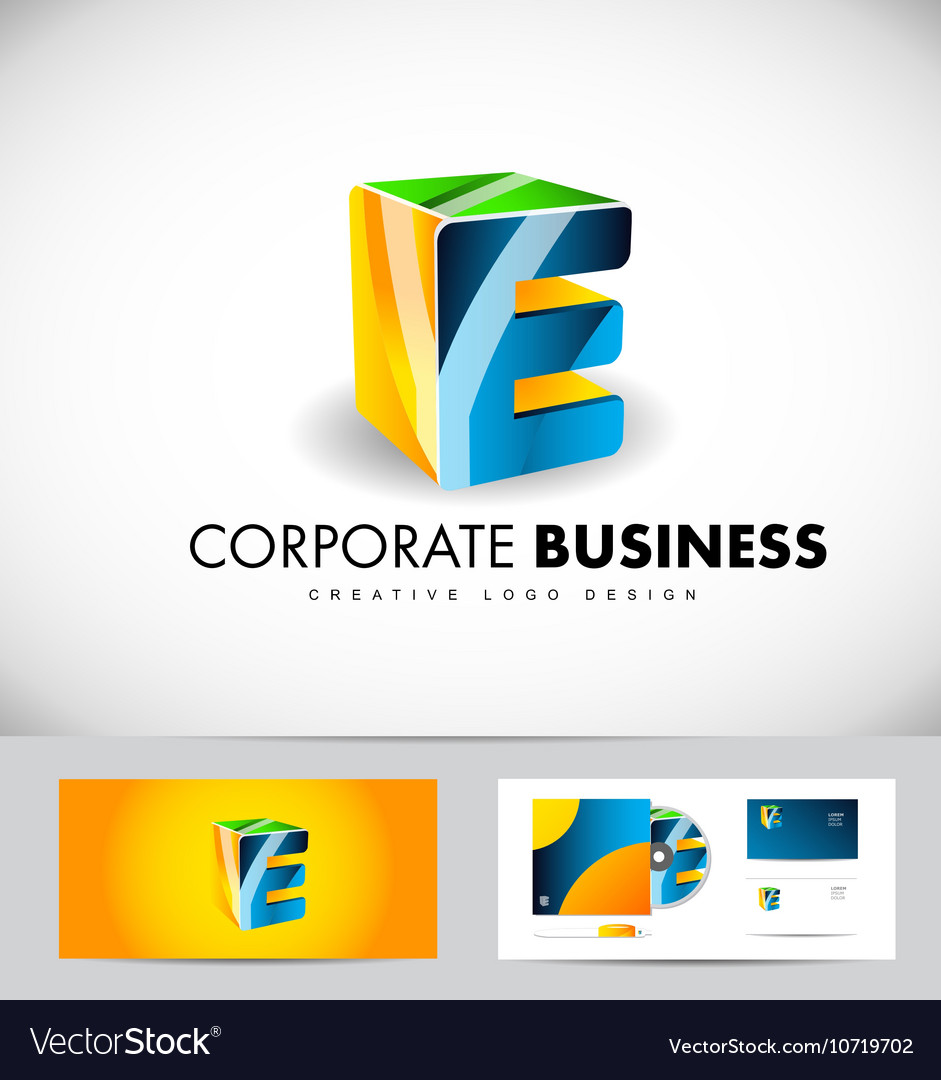 Alphabet letter e corporate business 3d logo icon vector image thecheapjerseys Choice Image