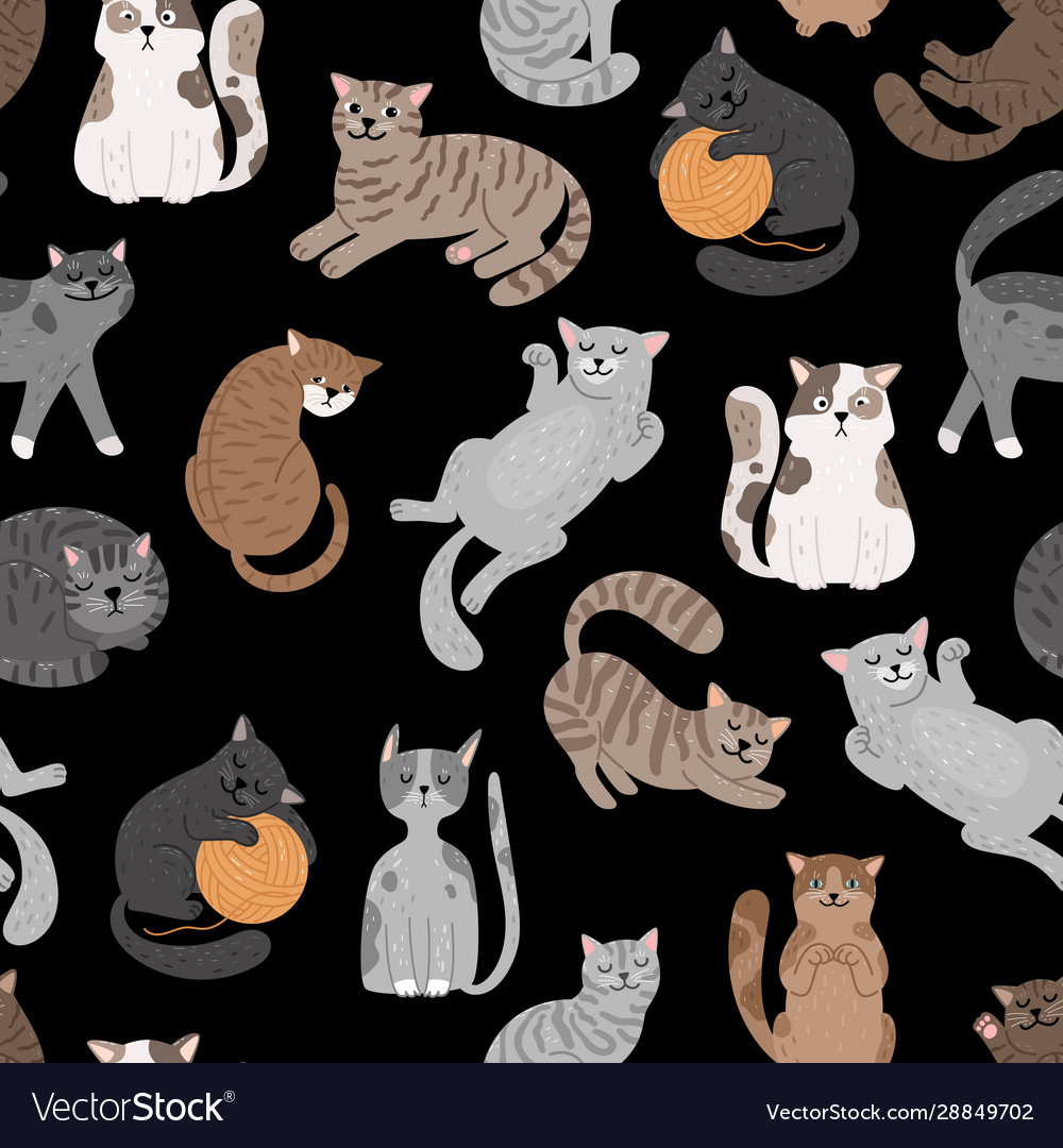 Cats seamless pattern shorthaired cat set pattern