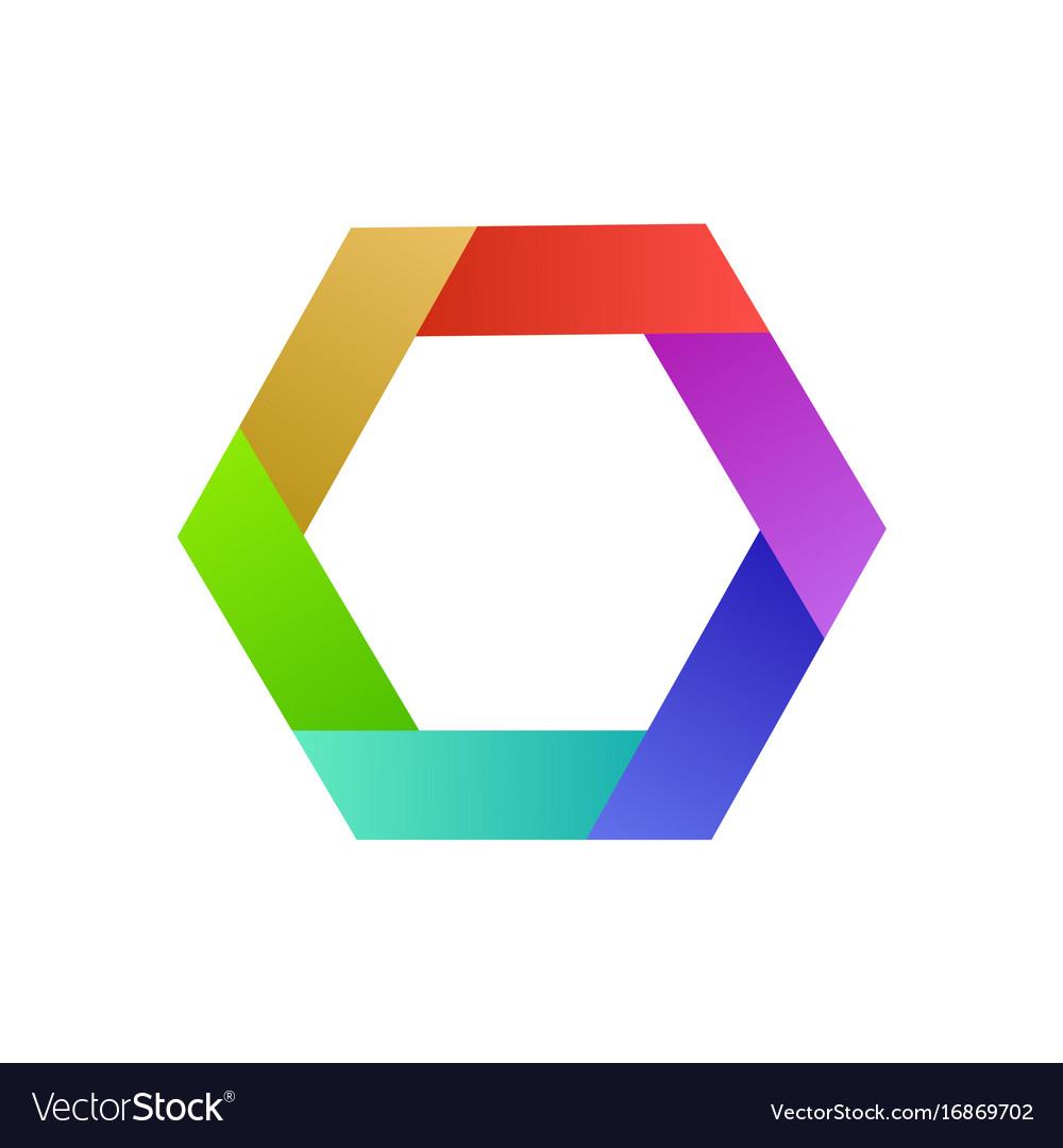 Colorful logo design hexagon abstract idea for vector image