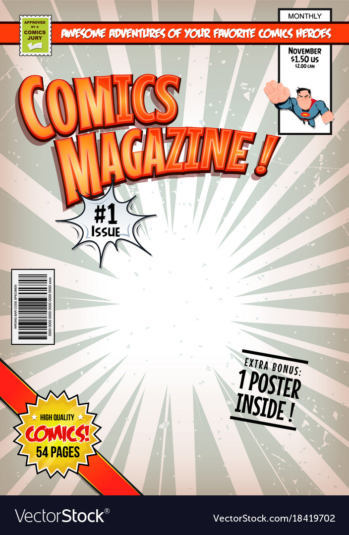 Comic Book Cover Template | Comic Book Cover Template Royalty Free Vector Image