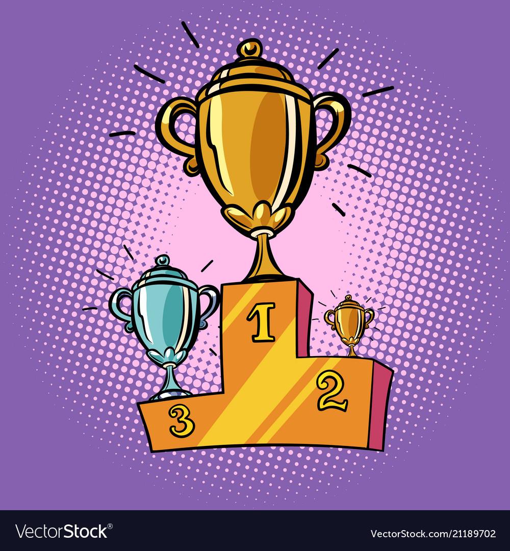 Cups winner first second third place pedestal