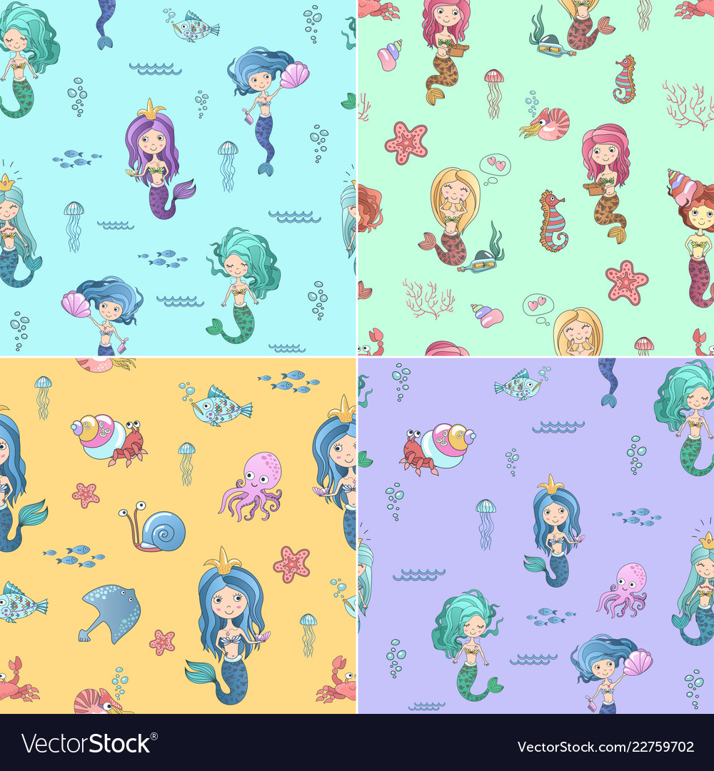 Cute seamless patterns set with mermaids and