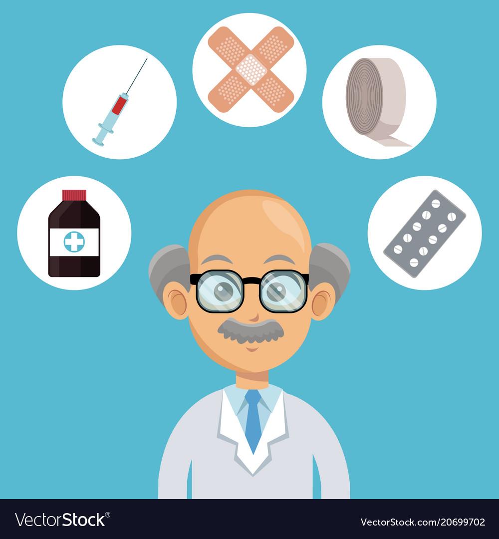 Doctor Cartoon With Medical Symbols Royalty Free Vector