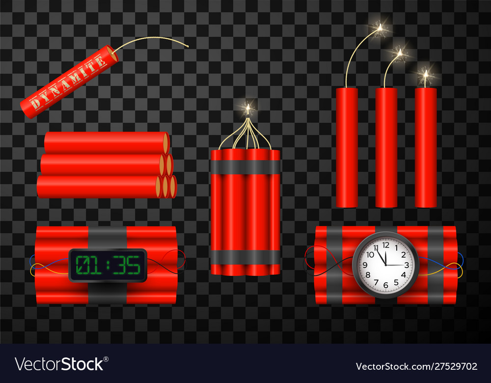 Dynamite bomb red icons set