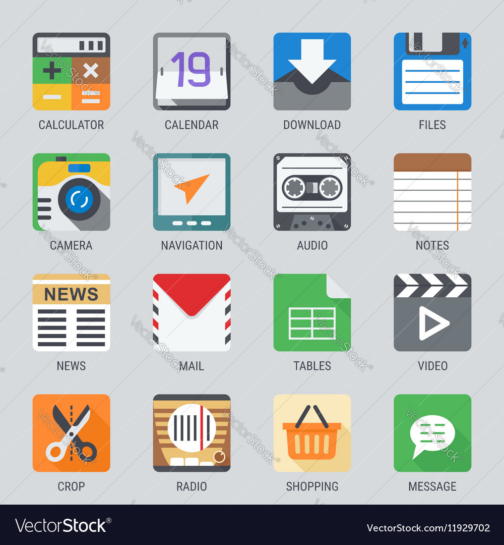 Flat icon set for Web and Mobile Application No1