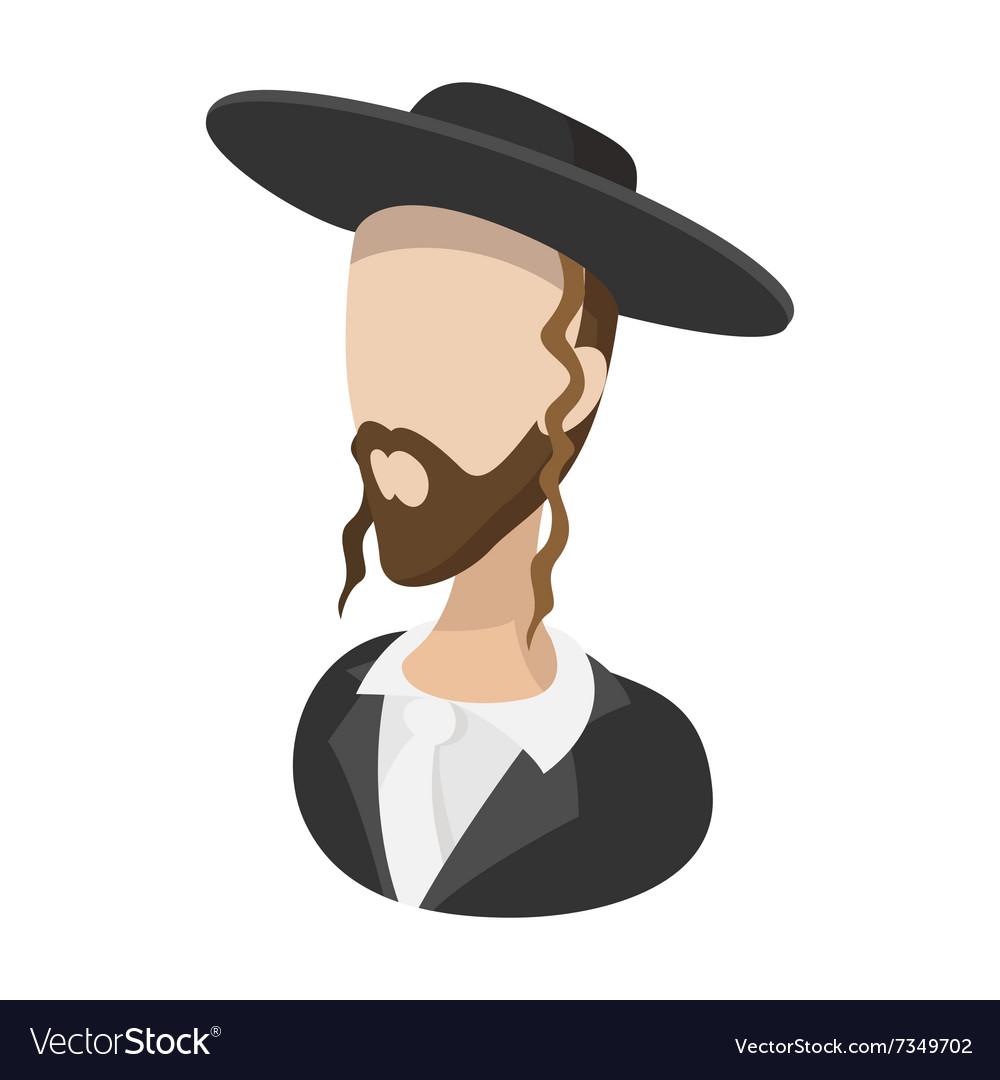 Rabbi cartoon icon vector image