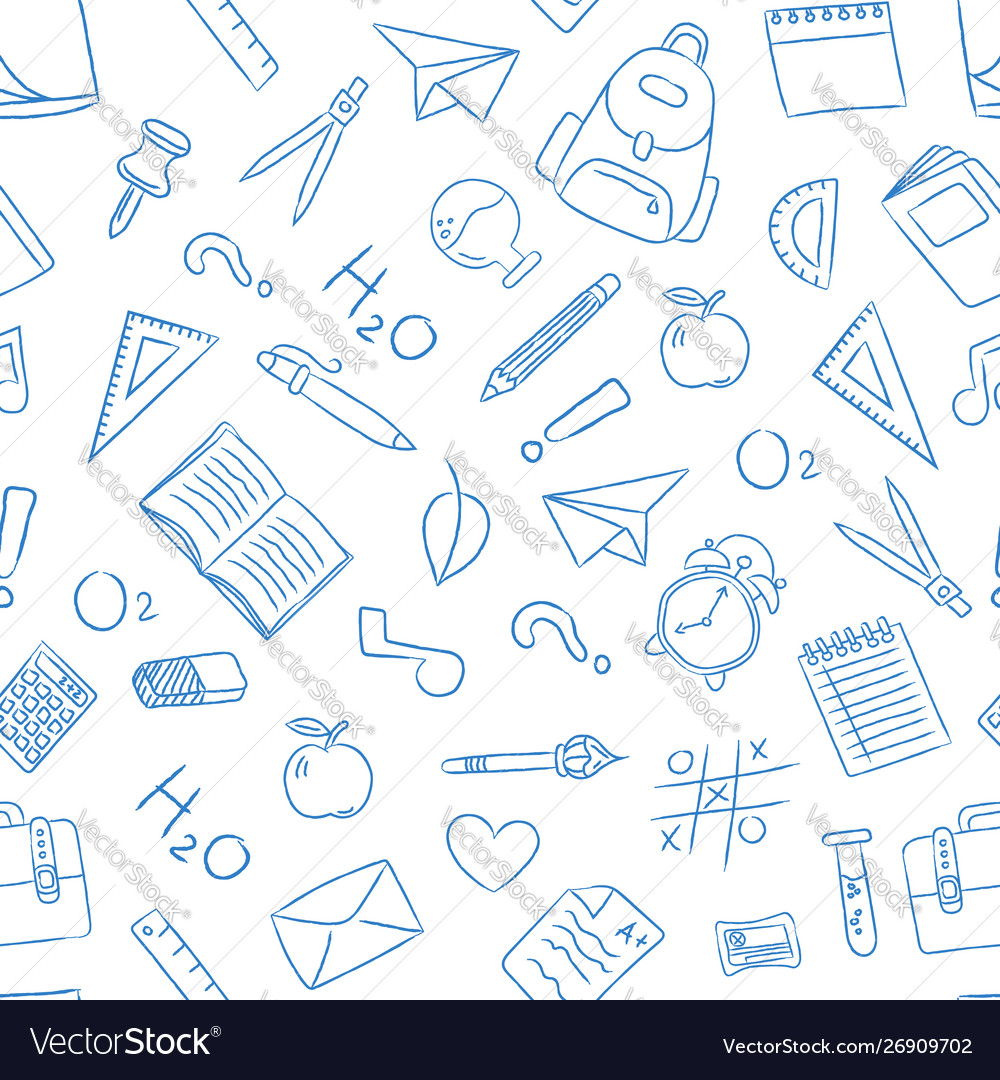 School doodle icon seamless pattern background
