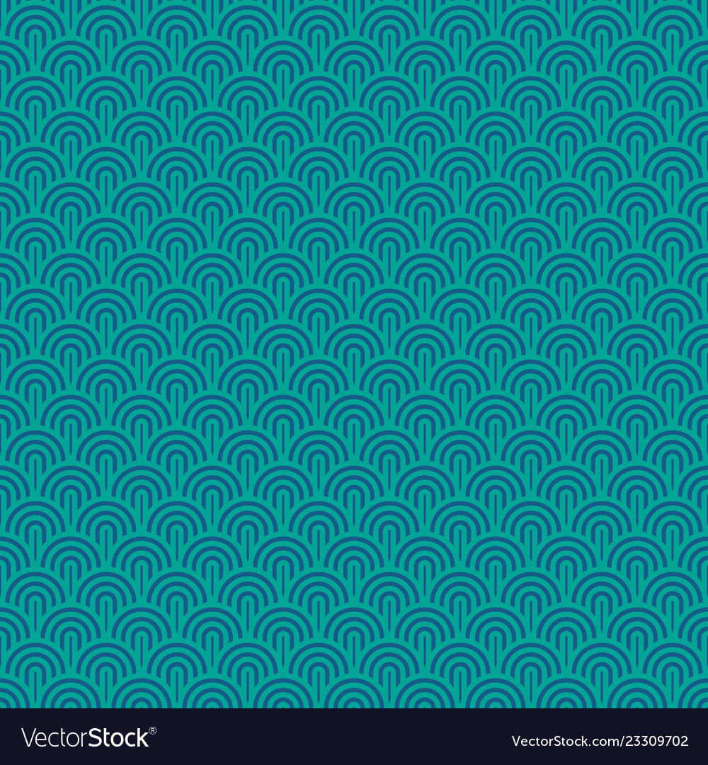 Seamless chinese sea waves pattern turquoise