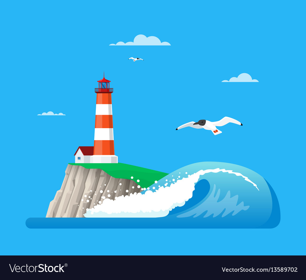 Seascape with lighthouse in