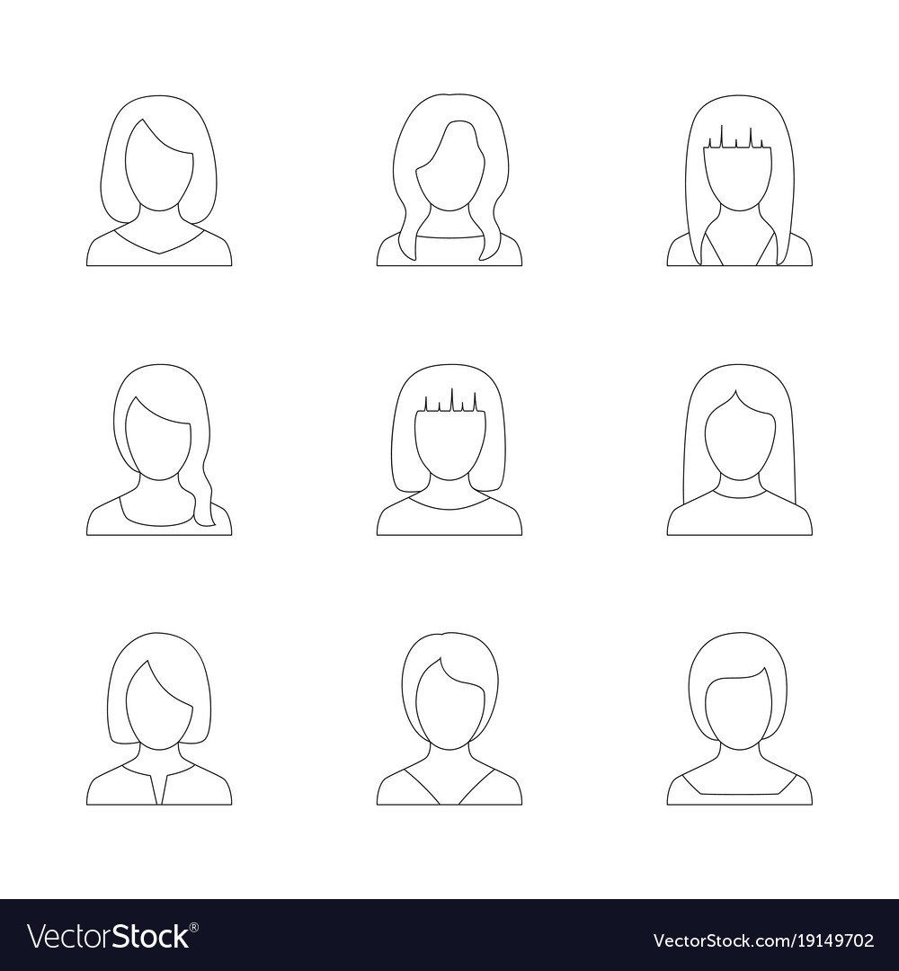 Set of outline icons of women