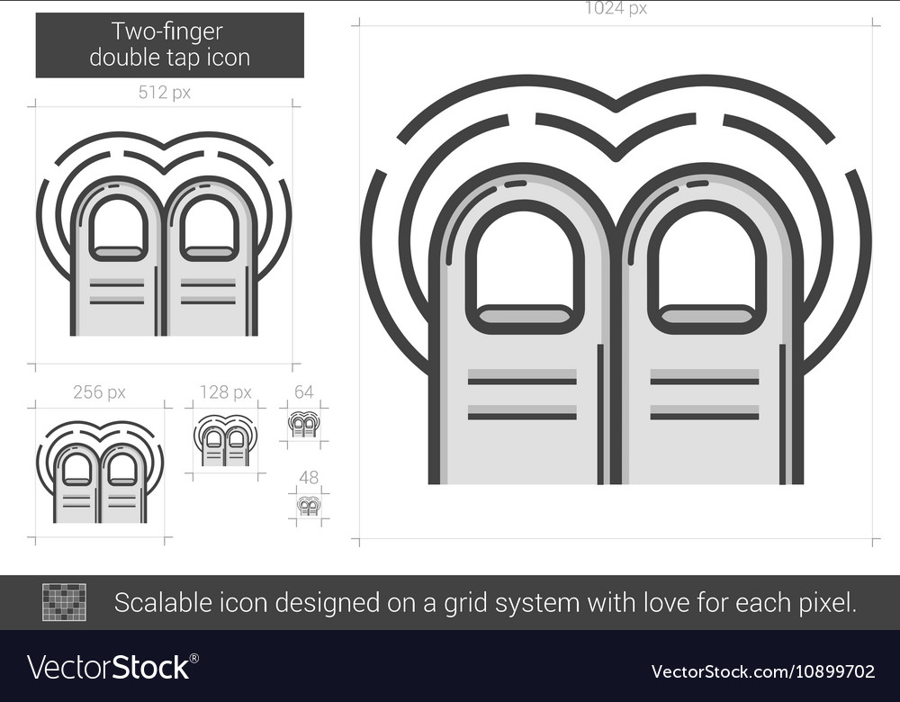 Two-finger double tap line icon vector image