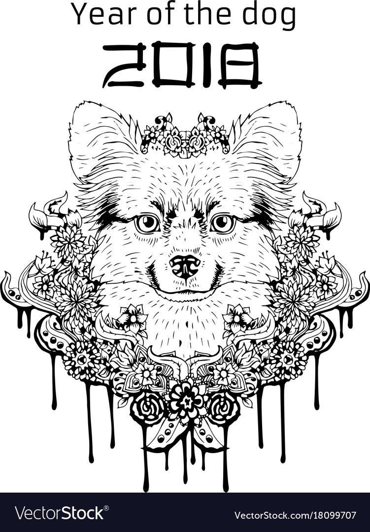 2018 zodiac dog new year design christmas