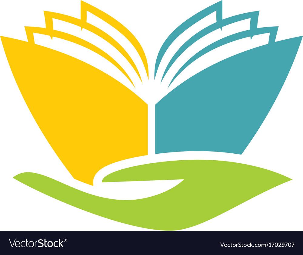 book abstract hand education logo royalty free vector image