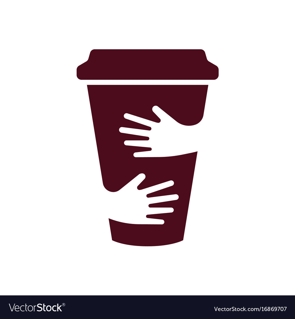 Coffee cup and hands logo cafe symbol Royalty Free Vector